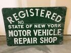 Vintage+Official+State+of+New+York+Motor+Vehicle+Repair+Shop+Doublesided+retired