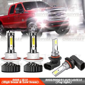 4Pcs LED Headlight + Fog Bulb For 05-19 Ford F250 F350 Super Duty 04-14 F150