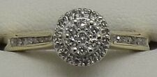 SOLID 10CT YELLOW & WHITE GOLD NATURAL DIAMOND ENGAGEMENT/DRESS RING - SIZE O