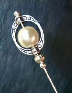 """Long Hatpin Ivory Glass Pearl  Vintage Style 5"""" inch Long Hat Pin & Protector**"""