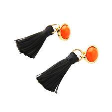 Stud Ancient Gold long Tassels Earrings Handmade Black Crystal Ear Drop Dangle