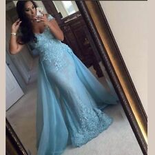2017 Blue Mermaid Long Formal Evening Gown Prom Dresses Celebrity Pageant Dress