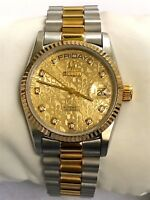 BULOVA SUPER SEVILLE DAY & DATE MONOGRAM DIAL 25J TWO TONE  SWISS MADE