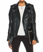 Womens Leather Jacket Black Slim Fit Biker Motorcycle lambskin