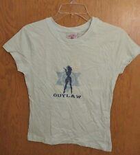 Steve & Barrys Juniors T-Shirt Top Medium Outlaw Cowgirl Cap Sleeve Sparkly A3