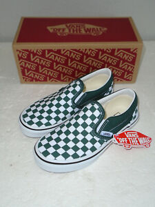 VANS Classic Slip-On Checkerboard Green/White SK8 Shoes Kids Size 1.5 NEW
