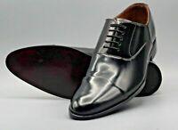 Hommes Fait main Noir Cuir verni véritable Lacer Embout Formel Des chaussures
