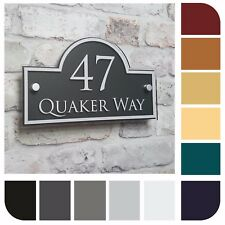 House Sign Address Number Plaque Property Name Plate Modern Glass Effect Acrylic