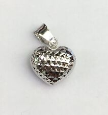 18k Solid White Gold Cute Small 3D Heart  Diamond Cut Charm/ Pendant.