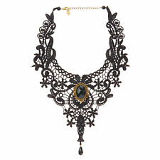 Claire's Girls Black Lace & Stone Detail Halloween Necklace