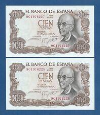 ESPAÑA // SPAIN -- PAREJA 100 PESETAS ( 1970 ) -- SC Y EBC+ -- SERIE 9C .