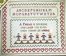 Vtg Friends Cross Stitch Kit W/ Wool Yarn Sampler Spinnerin Veva Wood Complete