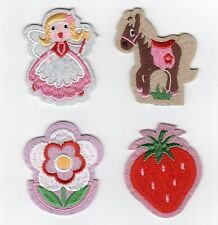 9 x PRETTY GIRL STICK ON SEW ON APPLIQUE MOTIF CRAFT EMBELLISHMENT PATCH SET