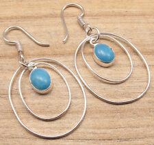 925 Silver Overlay Simulated Larimar Stone Jaipur Jewellery Art Earrings Pair