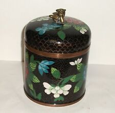 Rare Huge Old Chinese Cloisonne Enamel Foo Dog Floral Humidor Canister Jar Box