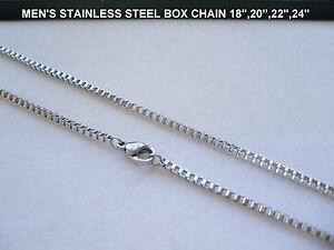 """2mm MEN'S STAINLESS STEEL BOX CHAIN NECKLACE 16"""",18"""",20"""",22"""",24"""",30"""""""