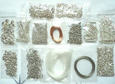 JOB LOT SILVER JEWELLERY MAKING KIT SP FINDINGS TIGERTAIL EARRINGS EYEPINS BEADS
