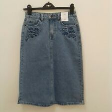 M&S ladies size 8 denim jeans skirt floral detail straight bnwt