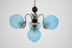 30er ART DECO LUSTER LAMPE LEUCHTER GLAS 30s CZECH PENDANT CHANDELIER LIGHT