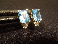 Breathtaking! Estate 14K Yellow Gold Emerald Cut Blue Topaz & Diamond Earrings