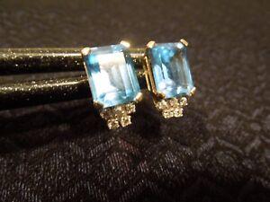 Estate 14K Yellow Gold Emerald Cut Blue Topaz & Diamond Earrings