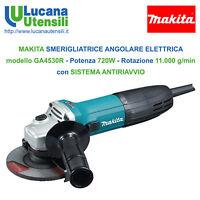 MAKITA SMERIGLIATRICE ANGOLARE ELETTRICA mod GA4530R 115mm 720W FLEX ANTIRIAVVIO
