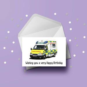 Ambulance 01 Birthday Card - Free 1st class postage
