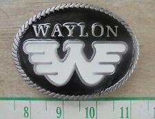 Waylon Jennings W Oval Belt Buckle Solid Metal Black and Red Sturdy