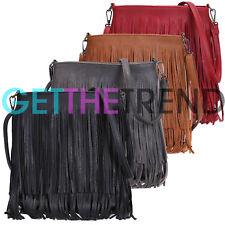 New Womens Leather Tassle Shoulder Bag Designer Style Tassel Fringe Handbag Uk