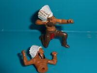 Ü-Ei vor 1981 1982 2-teilige Figur Indianer kniend Bogenschütze mit Pfeil
