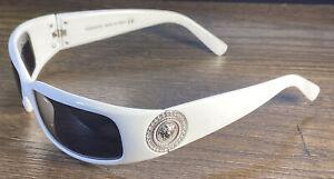 VERSACE 4044-B Sunglasses White Silver Coin Swarovski Crystals Medusa Wrap Rare