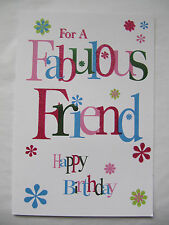 9WONDERFUL GLITTER COATED FOR YOU A FABULOUS FRIEND HAPPY BIRTHDAY GREETING CARD
