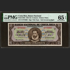 Banco Nacional de Costa Rica 2 Colones July 1942 PMG 65 EPQ GEM UNC P-201b