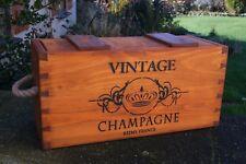Stile Vintage Champagne Cassa in legno rustico Storage Box con coperchio realizzato a mano