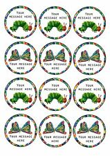 The Very Hungry Caterpillar personalised CUPCAKE TOPPERS 12 x 6cm A4 ICING SHEET