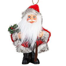 Christmas Standing / Hanging Mini Santa Decoration - Red / Grey