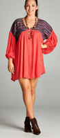 V-neck boho embroidered baby doll long tunic/dress by Velzera plus size NWT