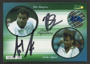 2010 Ace Authentics Tennis Pete Sampras Andre Agassi Dual AUTO 10/25