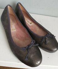 Pretty Ballerina Ballet Shoes Size UK 4 EU 37 Grey Metallic Snakeskin print