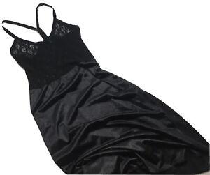 Fredericks Of Hollywood 38 Black Lace Bodice Halter T Back Midi Dress Lingerie