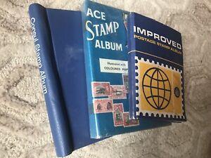 3 Vintage Stamp Albums W Stamps