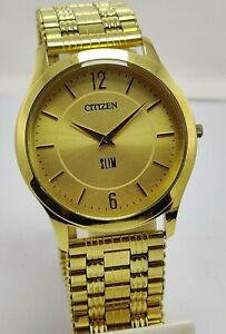 Vintage Citizen Slim Golden Dial Quartz Movement Japan Made Men's Wristwatch