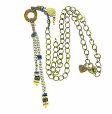 Harajuku Lovers Macrame Rhinestone Bead Heart Charm Y Necklace