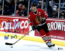 BECKETT CHRIS CHELIOS HOF 2013 AUTOGRAPHED-SIGNED CHICAGO BLACKHAWKS 8X10 PHOTO