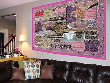 Zardozi Tapestry Hand Patchwork Beaded Embroidered Wall Hanging Heavy Sequins