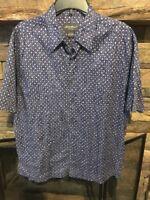 Eddie Bauer Men's Button-down Short Sleeve Shirt Size Large L 100% Cotton Blue's