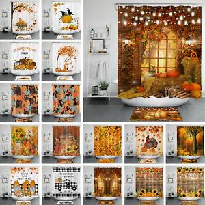 Fall Rustic Farmhouse Shower Curtain Truck Pumpkin Sunflower For Bathroom Decor
