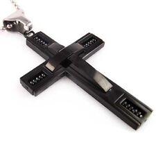 Stainless Steel Black Modern Cross Pendant