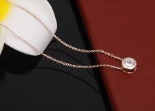 Damen Gold 14K Halskette mit Anhänger Collier Kette lang Diamant vergoldet 34€