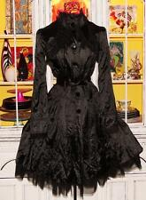Betsey Johnson RARE Coat BLACK Crinkle TULLE Rain TRENCH Fit Flare Jacket M 8 10